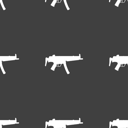 warfare: machine gun icon sign. Seamless pattern on a gray background. Vector illustration