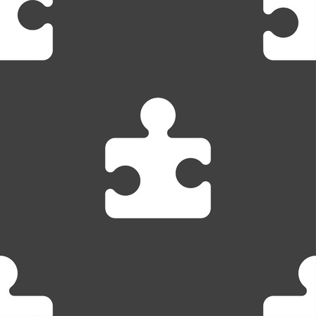conundrum: Puzzle piece icon sign. Seamless pattern on a gray background. Vector illustration