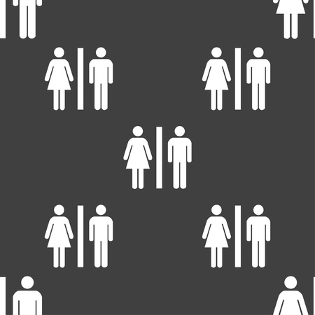 gent's: silhouette of a man and a woman icon sign. Seamless pattern on a gray background. Vector illustration Illustration