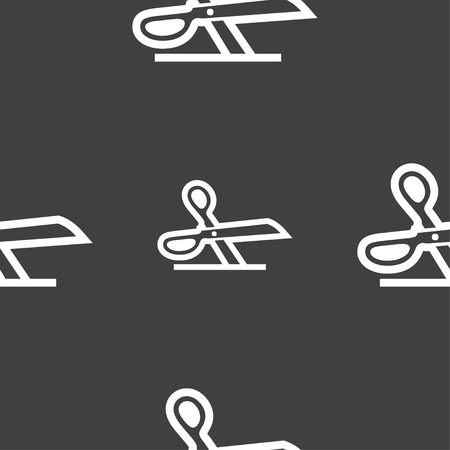 ciach: scissors icon sign. Seamless pattern on a gray background. Vector illustration