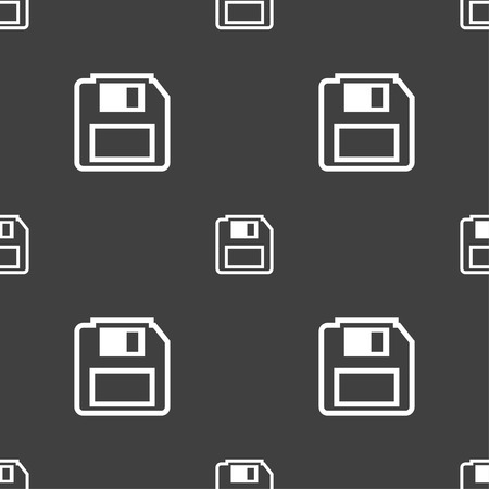 old pc: floppy disk icon sign. Seamless pattern on a gray background. Vector illustration Illustration