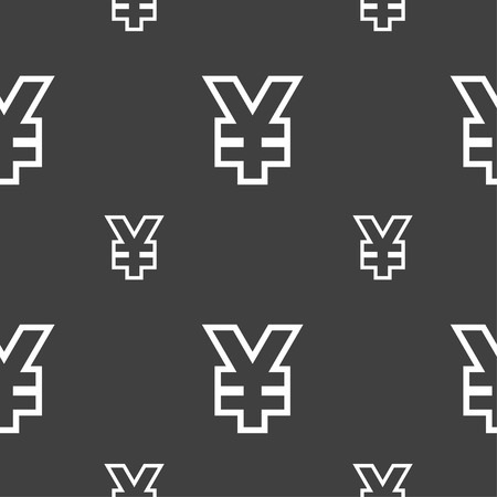jpy: Yen JPY icon sign. Seamless pattern on a gray background. Vector illustration