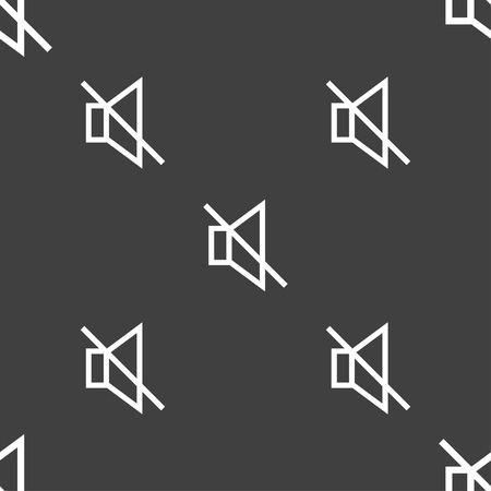 tech no: without sound, mute icon sign. Seamless pattern on a gray background. Vector illustration