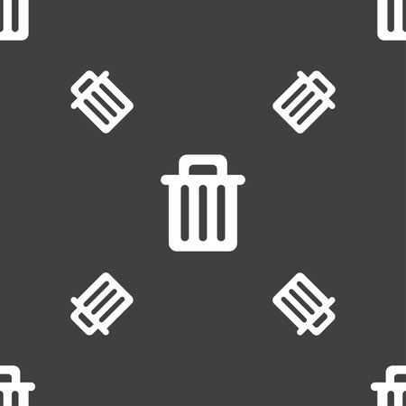 recycle bin: Recycle bin icon sign. Seamless pattern on a gray background. Vector illustration