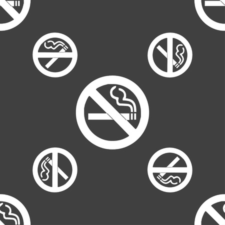 cigar shape: no smoking icon sign. Seamless pattern on a gray background. Vector illustration Illustration