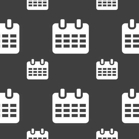 reminder icon: Calendar, Date or event reminder  icon sign. Seamless pattern on a gray background. Vector illustration Illustration