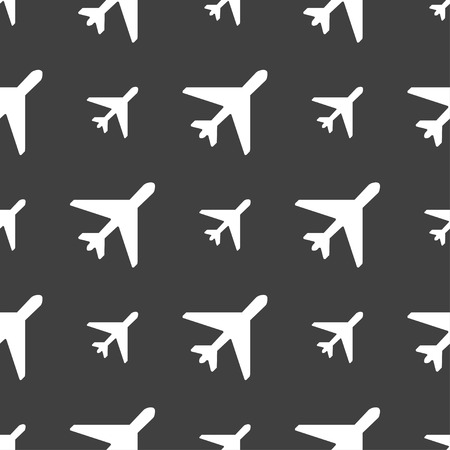 fender: airplane icon sign. Seamless pattern on a gray background. Vector illustration Illustration