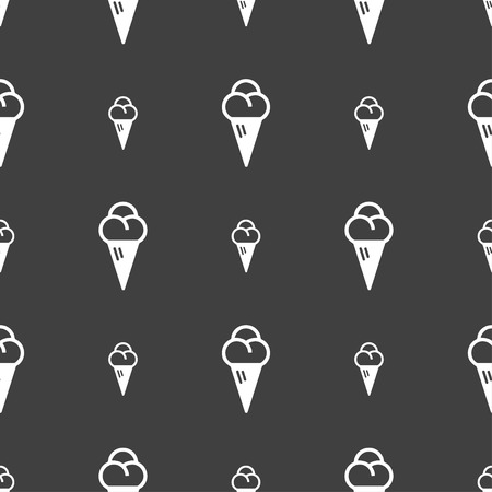 souffle: ice cream icon sign. Seamless pattern on a gray background. Vector illustration