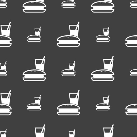 lunch box: lunch box icon sign. Seamless pattern on a gray background. Vector illustration