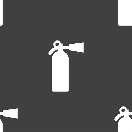 emergency services occupation: extinguisher icon sign. Seamless pattern on a gray background. Vector illustration