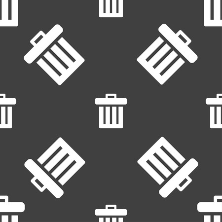 papelera de reciclaje: Papelera de reciclaje icono de signo. Patr�n transparente sobre un fondo gris. Ilustraci�n vectorial