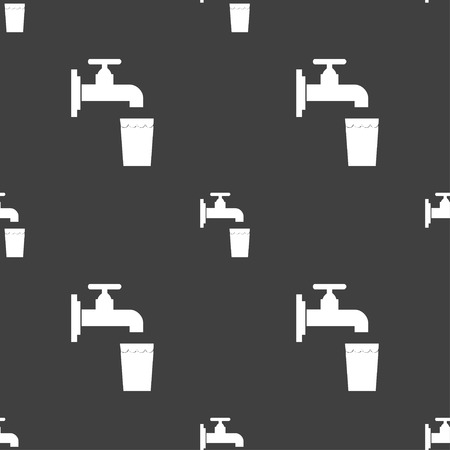 purify: faucet, glass, water icon sign. Seamless pattern on a gray background. Vector illustration