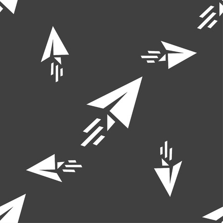 paper airplane: Paper airplane icon sign. Seamless pattern on a gray background. Vector illustration