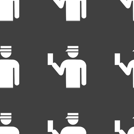 inspector: Inspector icon sign. Seamless pattern on a gray background. Vector illustration