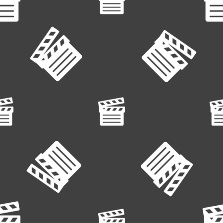 Cinema Clapper  icon sign. Seamless pattern on a gray background. Vector illustration