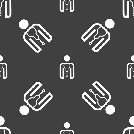 clinical staff: doctor icon sign. Seamless pattern on a gray background. Vector illustration Illustration