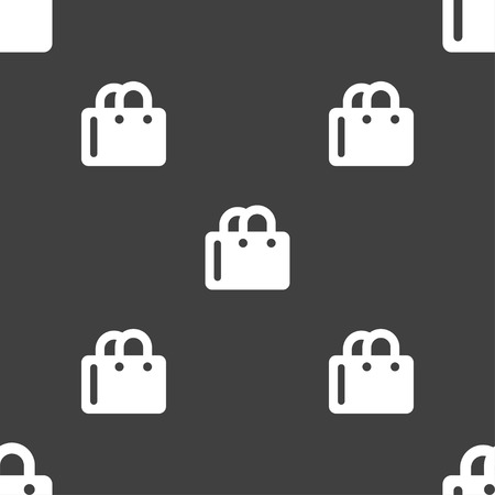 shopping bag icon: shopping bag icon sign. Seamless pattern on a gray background. Vector illustration