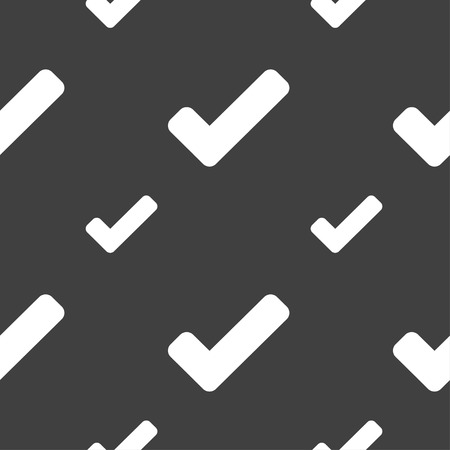 Check mark, tik icon sign. Seamless pattern on a gray background. Vector illustration