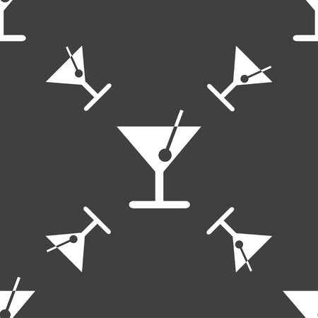 spearmint: cocktail icon sign. Seamless pattern on a gray background. Vector illustration