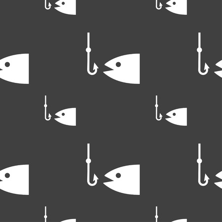 sinker: Fishing icon sign. Seamless pattern on a gray background. Vector illustration