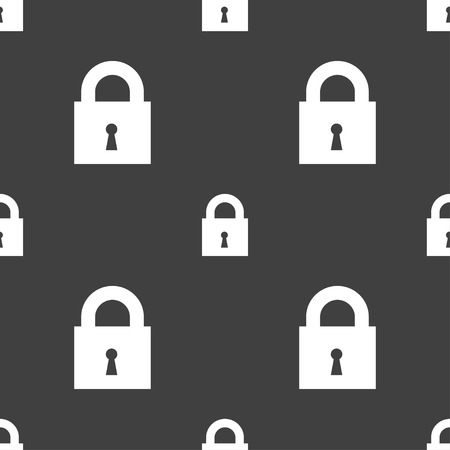 10 fingers: closed lock icon sign. Seamless pattern on a gray background. Vector illustration
