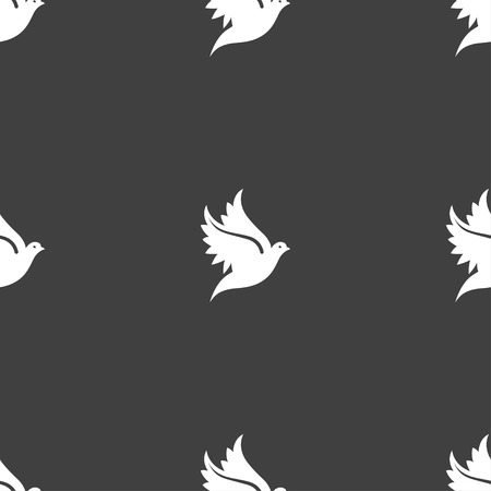 Dove icon sign. Seamless pattern on a gray background. Vector illustration Çizim