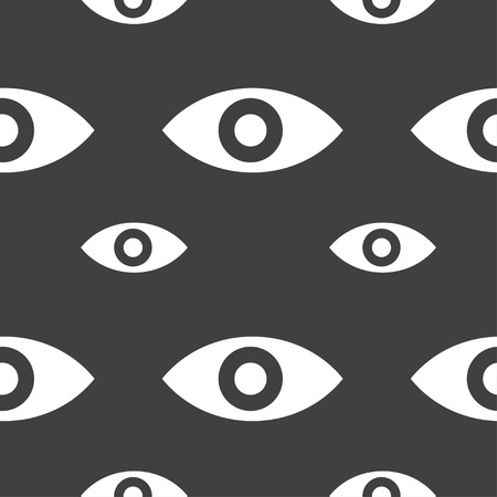 intuition: Eye, Publish content, sixth sense, intuition icon sign. Seamless pattern on a gray background. Vector illustration Illustration