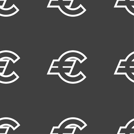 eur: Euro EUR icon sign. Seamless pattern on a gray background. Vector illustration