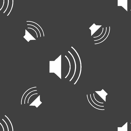 max: volume, sound  icon sign. Seamless pattern on a gray background. Vector illustration Illustration