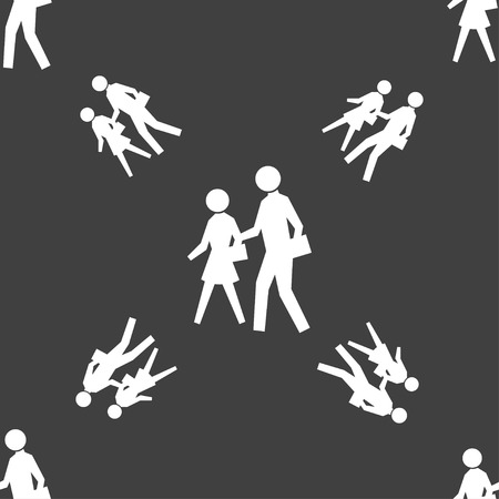 crosswalk: crosswalk icon sign. Seamless pattern on a gray background. Vector illustration