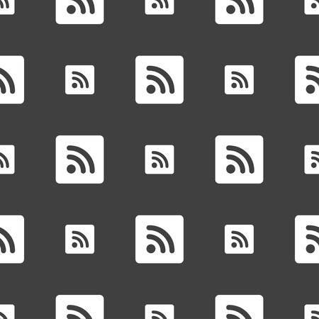rss feed icon: RSS feed  icon sign. Seamless pattern on a gray background. Vector illustration Illustration