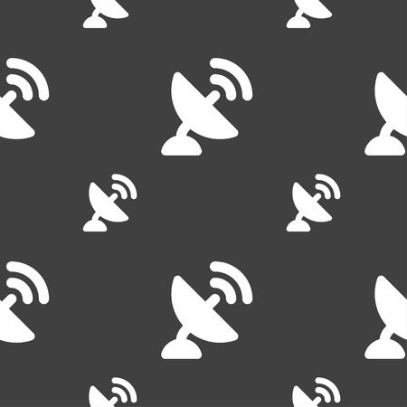 high speed internet: satellite antenna icon sign. Seamless pattern on a gray background. Vector illustration