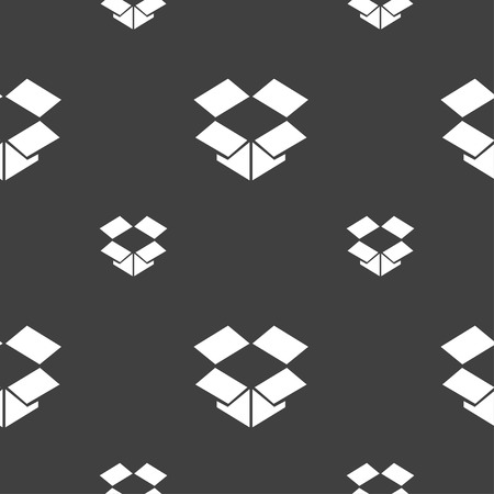 open box: open box icon sign. Seamless pattern on a gray background. Vector illustration Illustration