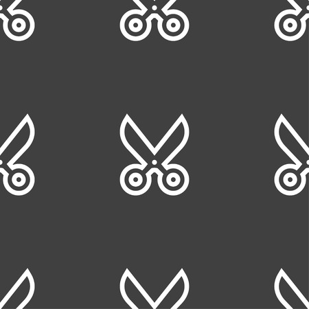 disclosed: scissors icon sign. Seamless pattern on a gray background. Vector illustration
