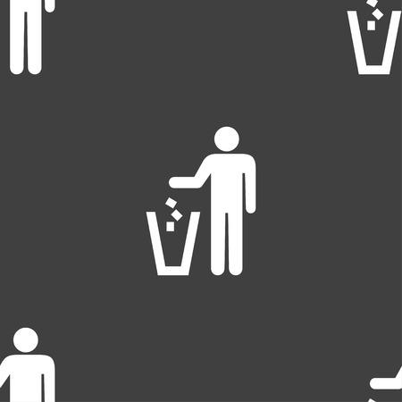 cesto basura: tirar el signo icono de la papelera. Patrón transparente sobre un fondo gris. Ilustración vectorial