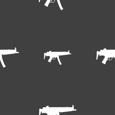 large group of objects: machine gun icon sign. Seamless pattern on a gray background. Vector illustration