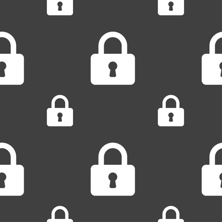 pad lock: Pad Lock icon sign. Seamless pattern on a gray background. Vector illustration