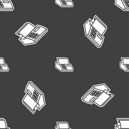 checkout line: Cash register machine icon sign. Seamless pattern on a gray background. Vector illustration Illustration