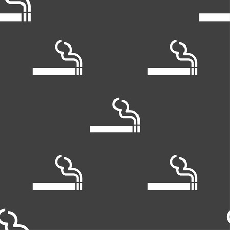 smoldering cigarette: cigarette smoke icon sign. Seamless pattern on a gray background. Vector illustration