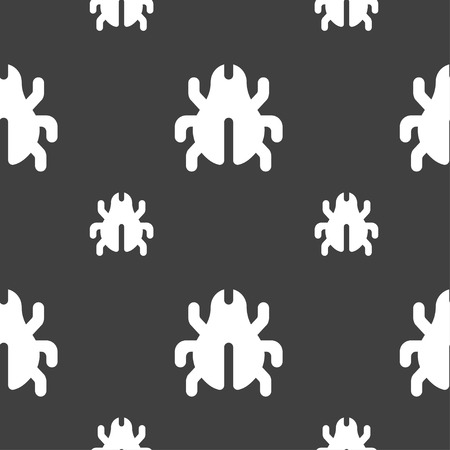 disinfection: Software Bug, Virus, Disinfection, beetle icon sign. Seamless pattern on a gray background. Vector illustration Illustration