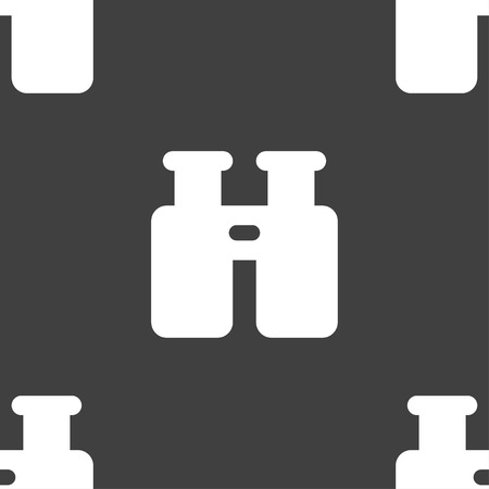 information icon: Binocular, Search, Find information icon sign. Seamless pattern on a gray background. Vector illustration Illustration