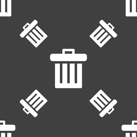 refuse bin: Recycle bin icon sign. Seamless pattern on a gray background. Vector illustration