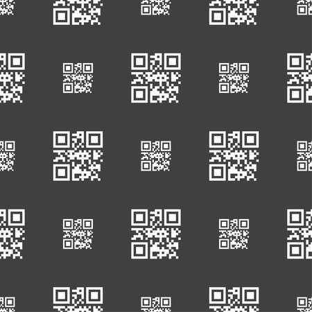 Qr code icon sign. Seamless pattern on a gray background. Vector illustration Illustration