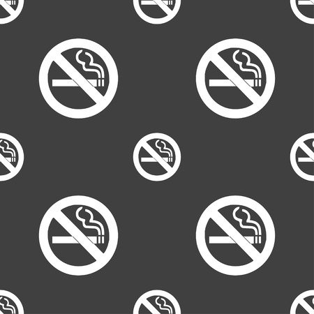 smoldering: no smoking icon sign. Seamless pattern on a gray background. Vector illustration Illustration
