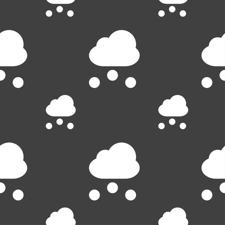 snowing: snowing icon sign. Seamless pattern on a gray background. Vector illustration