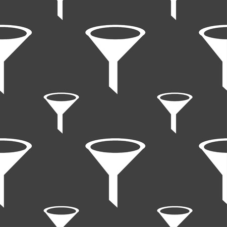 filtering: Funnel icon sign. Seamless pattern on a gray background. Vector illustration Illustration