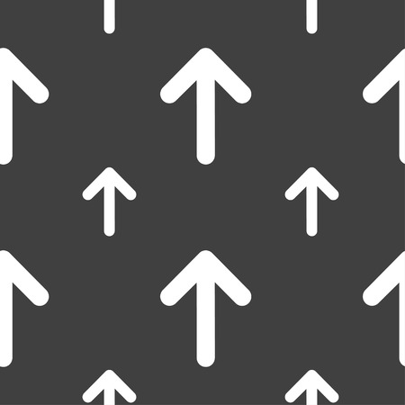this: Arrow up, This side up icon sign. Seamless pattern on a gray background. Vector illustration