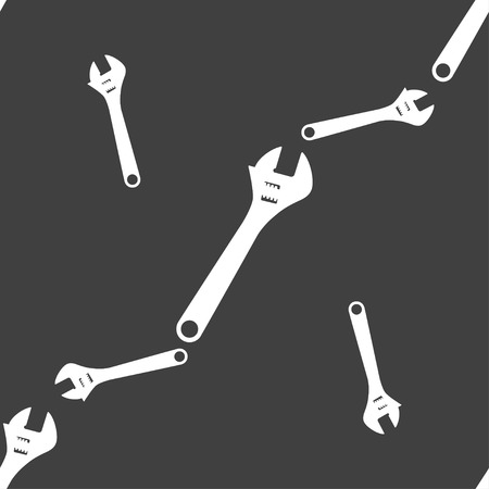 fitter: wrench icon sign. Seamless pattern on a gray background. Vector illustration Illustration