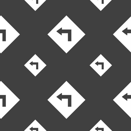 dangerous: Road sign warning of dangerous left curve icon sign. Seamless pattern on a gray background. Vector illustration Illustration