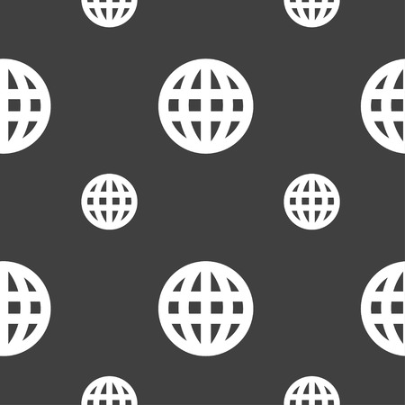 geography background: Globe, World map geography icon sign. Seamless pattern on a gray background. Vector illustration Illustration